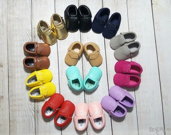 Baby Moccasins- Leather Moccasins, Suede Moccasins, Newborn Moccasins, Baby Shoes