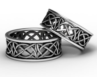 Celtic Wedding Ring Set With Open Cut-Through Knotwork Design in Sterling Silver, Made in Your Size 1139