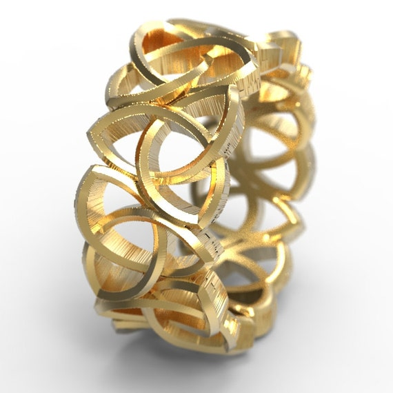 Gold Celtic Trinity Cut-Through Knotwork Design in 10K 14K 18K or Palladium, Made in Your Size Cr-519