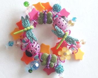 Butterfly bracelet/Dragonflies/Ladybugs/Beadiebracelet