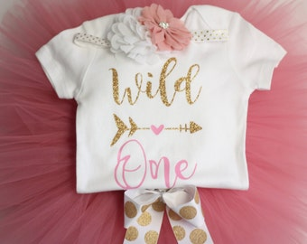 Birthday Outfit, Wild One, Babygirl Outfit, Gold and Pink