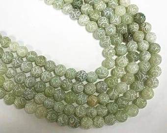 8mm Carved Jade Round Full strand Gemstone Beads seafoam Green, bead size is approx. - 48Beads-  SJA130