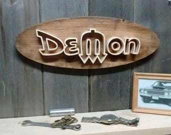 1970's Dodge Demon Emblem Oval Wall Plaque-Unique scroll saw automotive art created from wood for your garage, shop or man cave.
