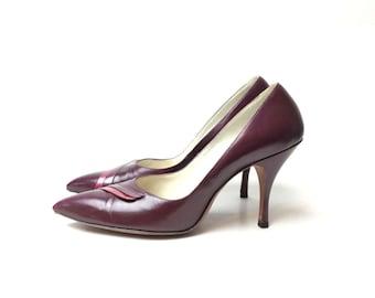 1950s shoes, 50s shoes, dark Red heels, 1950s heels, leather shoes, 7  burgundy shoes, stilettos, pumps,   burgundy pumps, burgundy heels,