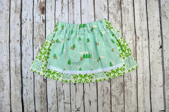 Snow Deer Apron Skirt 18/24 MTH