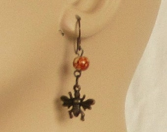 Earrings, pierced ears, ear wires, flies, bugs, bead, golden rust bead, fun earrings, C, jewelry