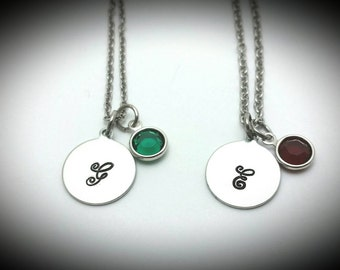 Birthstone initial necklace//Gift for mom//Birthstone  necklace//Initial necklace//Gift for her//personalized gifts//Gift for friend