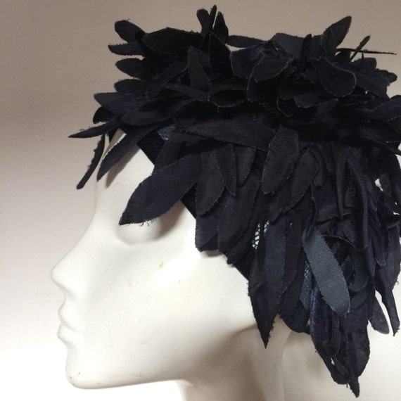 Navy petal hat all over crazy flowery wig style 1960s gogo glam headpiece late 1950s avant garde costume evening piece