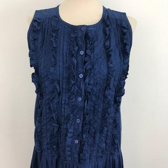 Vintage cotton dress navy blue frilly drop waist sundress 1920s Edwardian style 20s look resort wear UK 10 80s does Victoriana