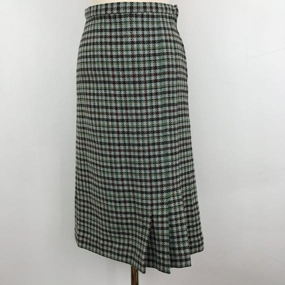 "1940s skirt tweed straight skirt woven wool UK 10 12 high waisted 28"" Wartime handmade WW2 separates replaced zip 40s duck egg blue green"