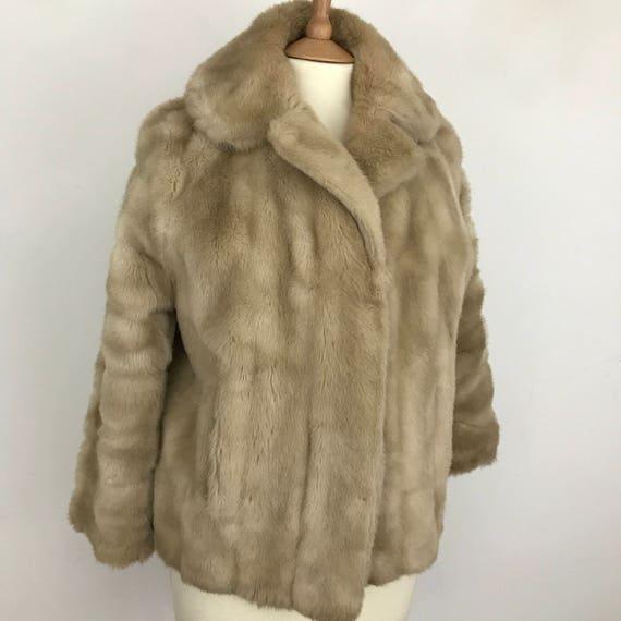 vintage fur coat caramel faux fur UK 14/16