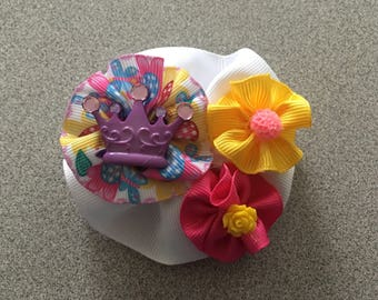 Round Hair Bow with Resin Cabachon