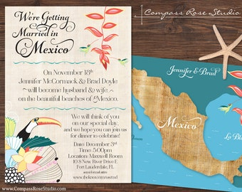 Custom Wedding Map, Mexico Destination Wedding, Elopement Announcement Reception, Any Location, Reception Invitation