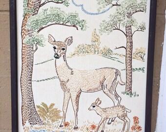 """Vtg Woodland Deer Embroidered Art, 21"""""""