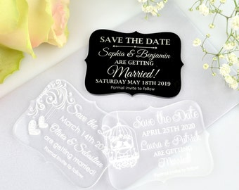 50 x Engraved Acrylic mini 'Save the Date' Wedding Stationary
