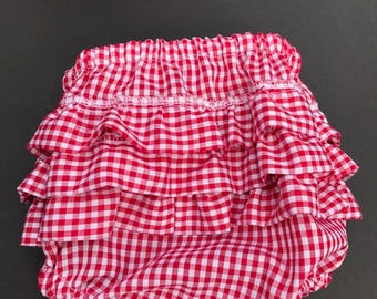 Ruffled Bloomers - Red Gingham Ruffled Diaper Cover