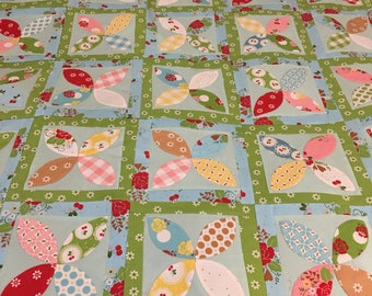 Sew Cherry 2 Hand Appliqued Quilt Top 36x42