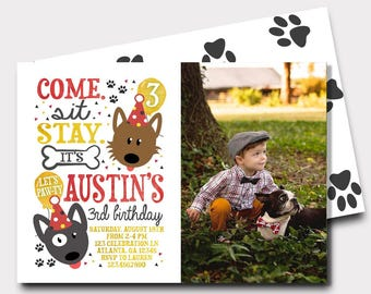 Puppy Birthday Invitation | Dog Birthday Invitation | Puppy Paw-Ty | Come Sit Stay | First Birthday Birthday Invitation