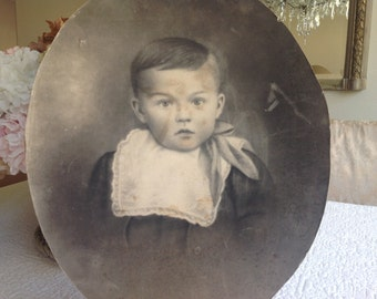 Antique Victorian charcoal portrait of sweet little boy