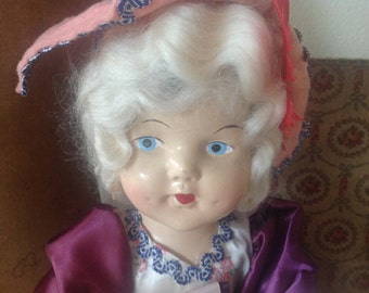 "Antique 17"" Marie Antoinette doll with all original clothing and hat"