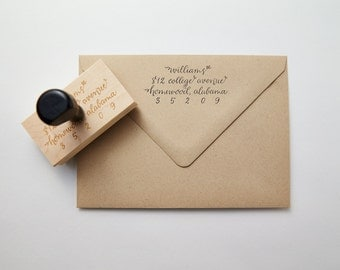 Calligraphy Return Address Stamp: Lowercase Style