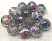 10 Vintage Sapphire Blue Metallic Rose Glass Beads