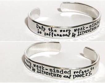 Custom quote multi font 3/8 inch personalized aluminum cuff bracelet