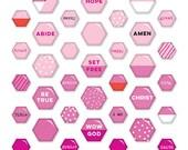Illustrated Faith - Basics - Pink Mini Hexie - Epoxy Stickers - 53 pieces - 1521