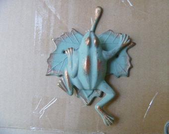 Verdigris Frog door knocker in brass