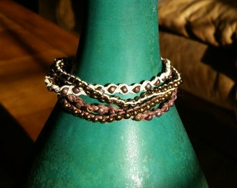 4 Layer Brown/Tan Beaded Bracelet