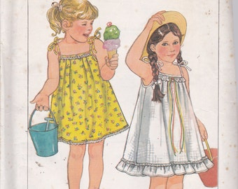 Simplicity 7467 Vintage Pattern Little Girls Summer Dress in 2 Variations Size 6 UNCUT