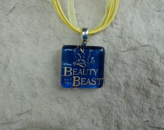 Broadway Musical Beauty and the Beast Glass Pendant and Ribbon Necklace