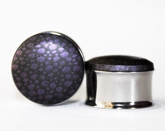 CLEARANCE: Black Plugs with Purple Speckles    3/4, 7/8