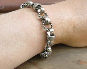 Medieval Chain bracelet - Viking Silver Bracelet - Silver Link bracelet - Ren Faire - Twisted Link