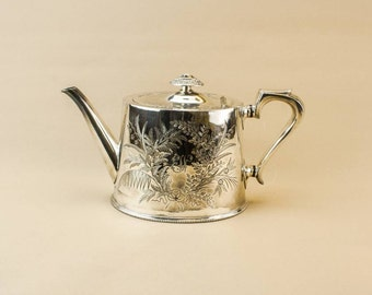 Antique Spectacular Floral Silver Plated Metal TEAPOT Atkin Brothers Small English Late 19th Century LS