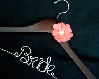 Coral Flower- Personalized Wedding Hanger - Nursery - Baby Shower - Kids