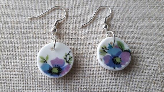 Broken china earrings, China shard earrings.  Porcelain earrings.  Unusual earrings.  Bridesmaid earrings.  Handmade in Wales UK