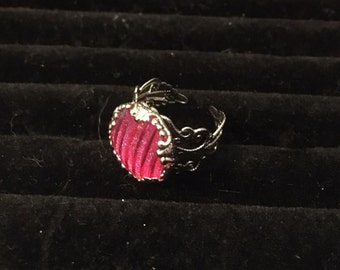 16mm Hot Pink Filigree Adjustable Ring