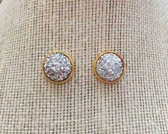 12mm Metallic Silver Faux Druzy Stud Earrings