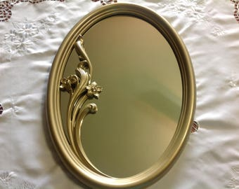 Vintage Syroco Gold Framed Oval Hanging Hollywood Regency Floral Mirror