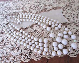 White Four -Strand Necklace - Vintage Jewelry / White  Beads / 1950s /