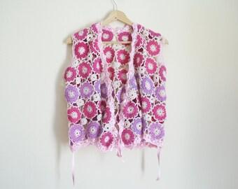 Vintage Pink Crochet Vest