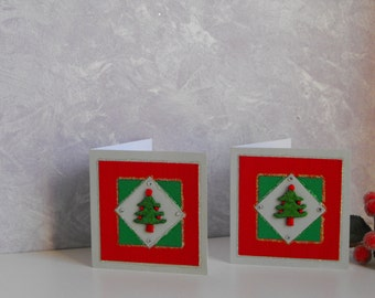 Christmas Tree Gift Enclosure Cards with Envelopes - Set of 2