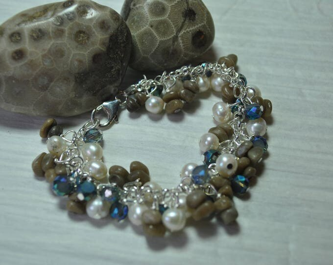 Petoskey Stone and Leland Blue sterling silver dangle bracelet with pearls and crystals, Lake Michigan Bracelet,  charm bracelet