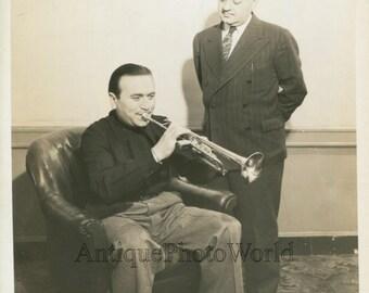 Charlie Spivak w trumpet manufacturer Fred Berman antique jazz music photo