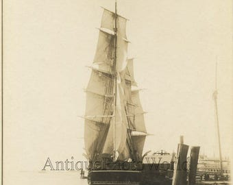 Bark Sunbeam sail ship antique art photo New Bedford Massachusetts