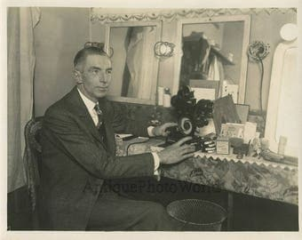 Actor in dressing room w Pathex projector antique photo