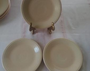6 Vintage Genuine FIESTA / FIESTAWARE Aprico Peach Color  Plates, Older, Homer Laughlin, Lead Glaze