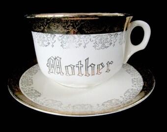 Vintage Mother Cup Saucer, Soup Bowl Mug, Vintage 22kt Gold Trim, Mothers Day Gift, Gift for Mom