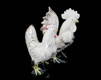 Mid Century Rooster and Chicken Figurines, White with Gold Accents, Worn Red, Old Japan, Vintage Rooster and Hen Statues
